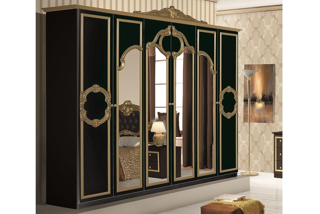 Schlafzimmer set barocco 7 teilig in schwarz gold 180x200 for Schlafzimmer set schwarz