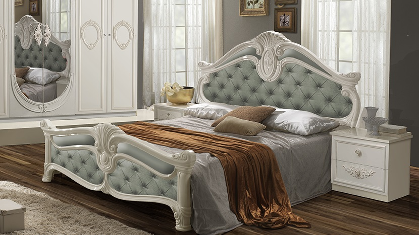 Bett Letizia 160x200 Cm In Minze Weiß Barock Design Ohne Lattenrost