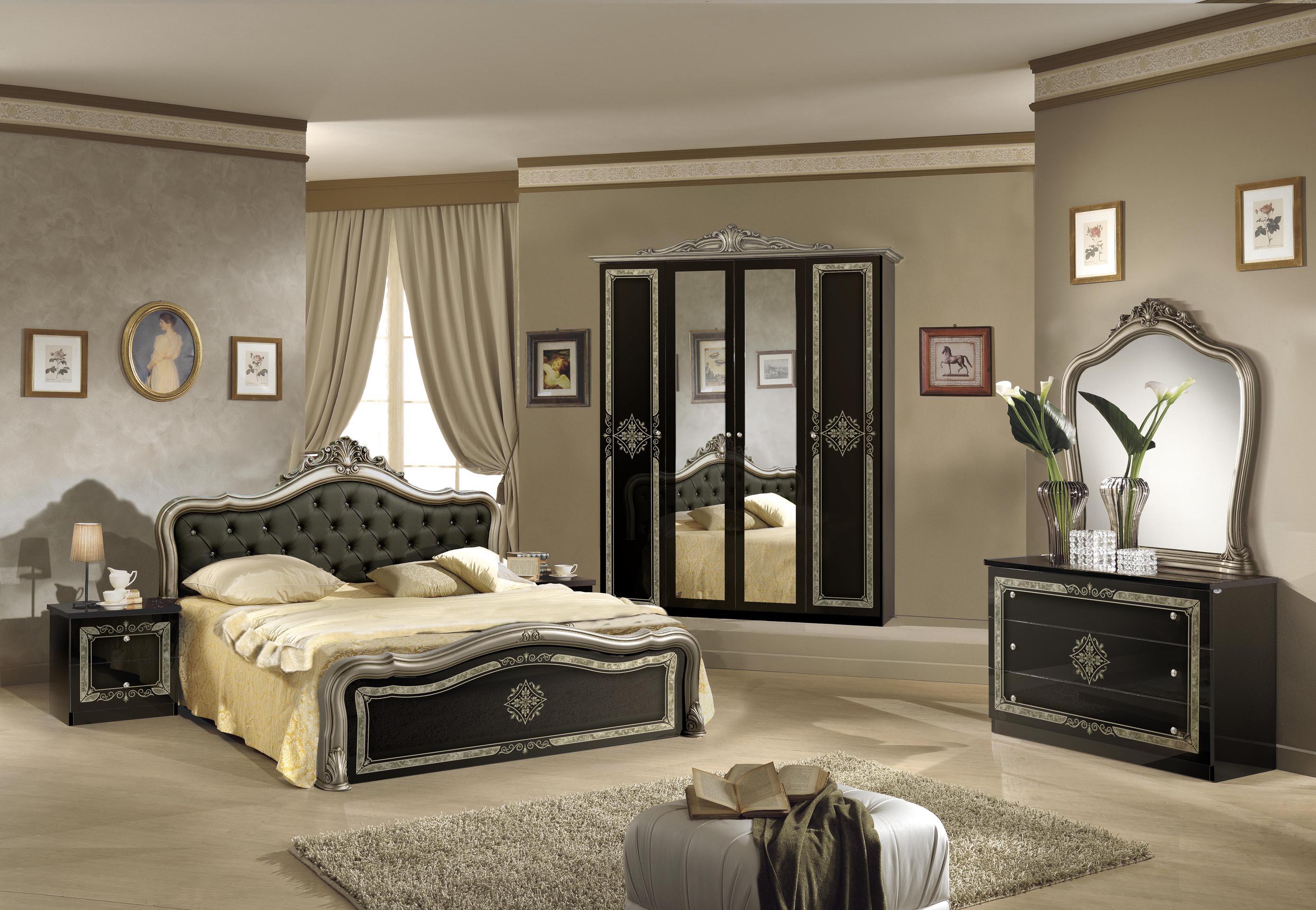 Gut bekannt Schlafzimmer Lucy in Schwarz-Silber 180x200 cm / mit Schrank 4 FP25