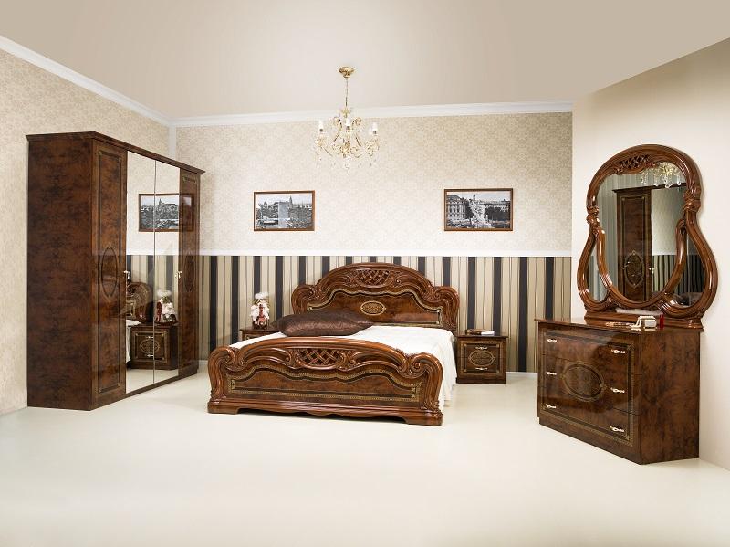 Schlafzimmer Lana in walnuss klassisch Barock design