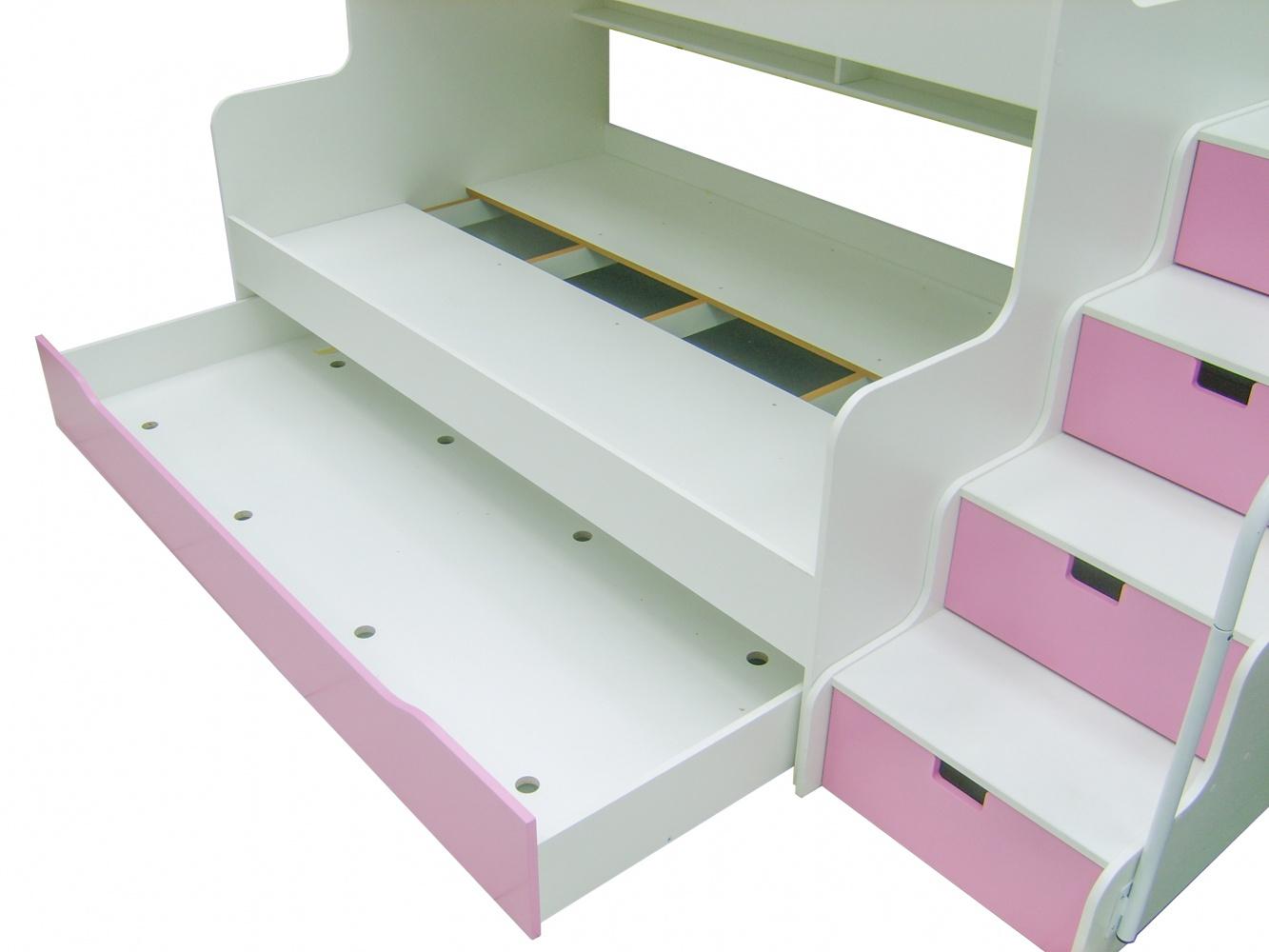 Etagenbett Pink : Etagenbett hochbett mk mit schubkastentreppe weiß pink ehb m