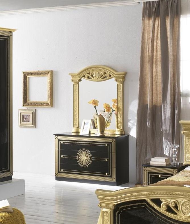 Kommode Mit Spiegel Rana Schwarz Gold Klassik Barock Luxus Com M R