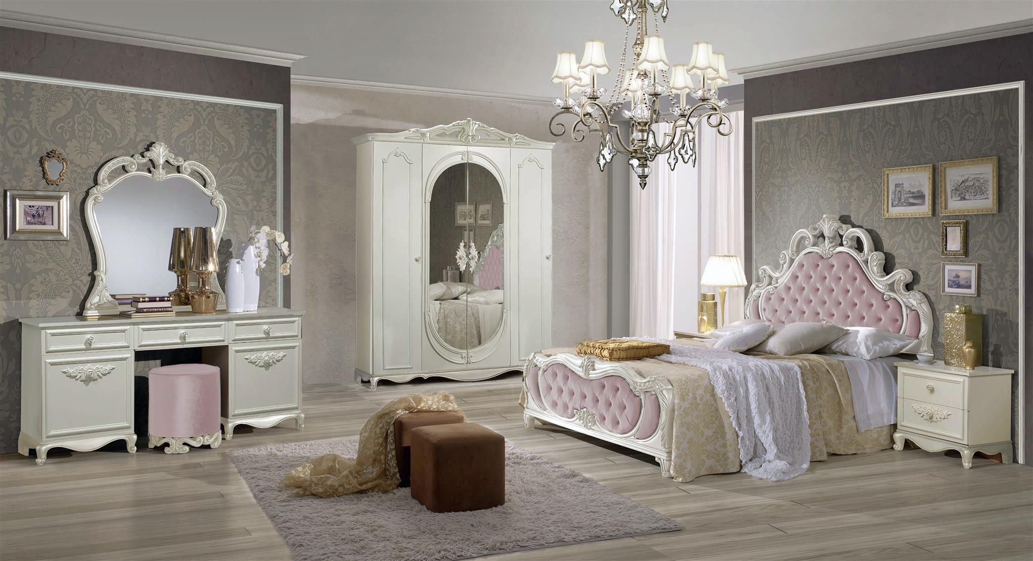 Schlafzimmer set atene in creme weiss rosa 180x200 cm mit schrank 4 t rig ohne lattenrost - Schlafzimmer mit schminktisch ...