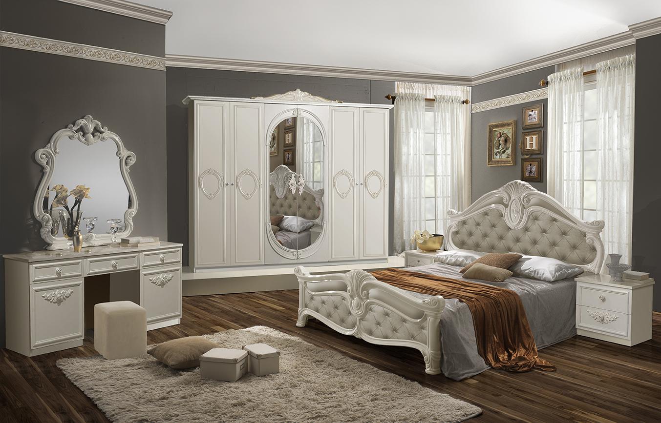 Schlafzimmer Set Letizia in Weiß Beige 160x200 cm mit ...
