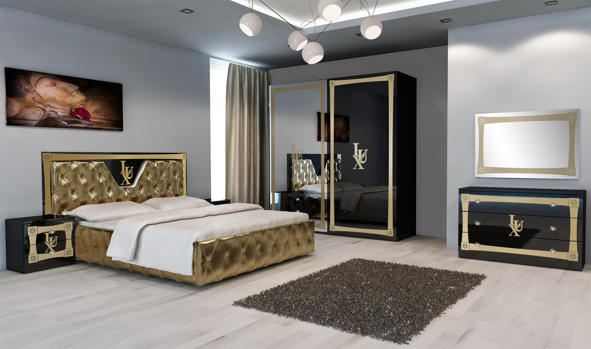 elegantes schlafzimmer, schönes schlafzimmer