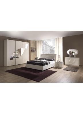 Schlafzimmer Trevia in weiss Stilvoll elegante Möbel ohne Lattenrost / 7 Zonen Comfortschaum-Matratze ca.16cm Hoch