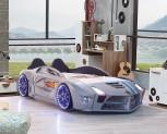 Autobett Luxury Vollversion in grau mit LED und Polsterung