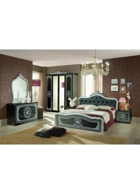 Schlafzimmer Alice 6-teilig in schwarz Gold Barock ohne Polsterung 180x200 cm  / mit Schrank 6 türig