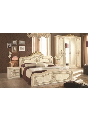 Schlafzimmer Alice in Walnuss Gold 160x200cm 4tlg