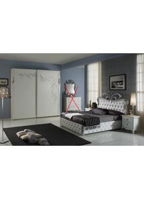 Schlafzimmer Perle in weiss creme Luxus 4tlg ohne Lattenrost / 7 Zonen Comfortschaum-Matratze ca.16cm Hoch