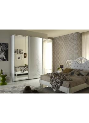 Schlafzimmer Harmony Hira modern weiss creme mit Polster 4tlg