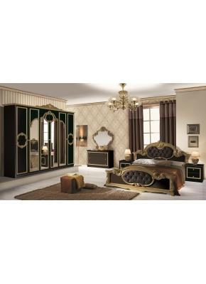 Schlafzimmer Set Barocco 7-teilig in Schwarz Gold 160x200 cm / mit Schrank 6 türig