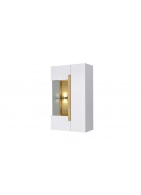 Wohnwand Sidney in weiss mit Holzoptik und LED